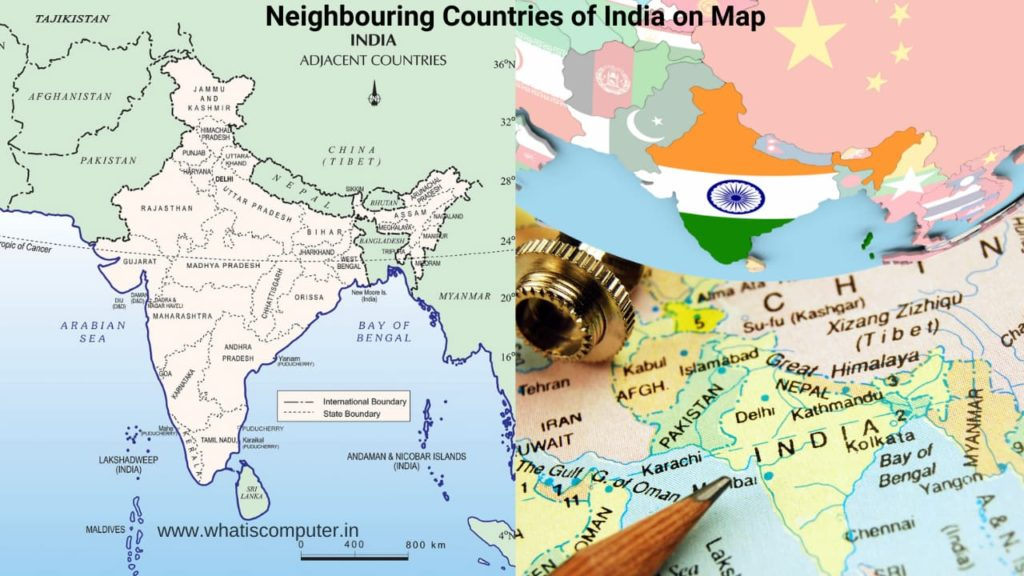 Neighbouring Countries of India on Map, Neighboring Countries of India and their Capitals
